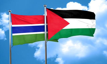 palestine: Gambia flag with Palestine flag, 3D rendering