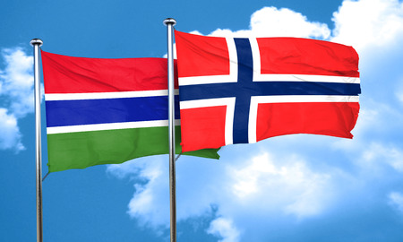 norway flag: Gambia flag with Norway flag, 3D rendering