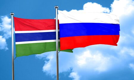 russia flag: Gambia flag with Russia flag, 3D rendering
