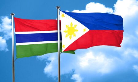philippino: Gambia flag with Philippines flag, 3D rendering