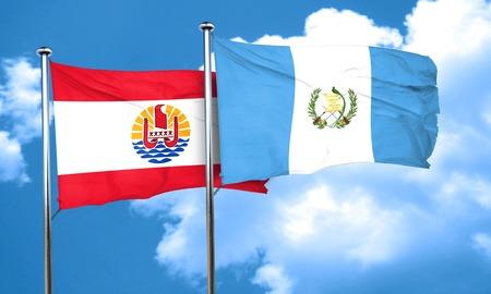 bandera de guatemala: Bandera de Polinesia franc�s con la bandera de Guatemala, 3D