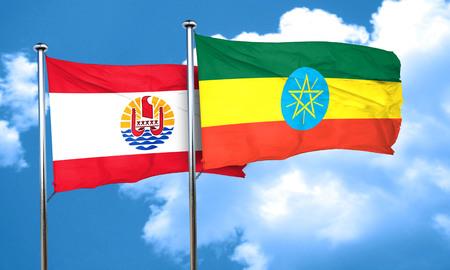polynesia: french polynesia flag with Ethiopia flag, 3D rendering Stock Photo