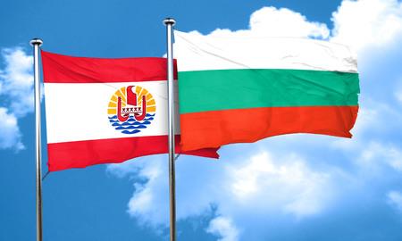 polynesia: french polynesia flag with Bulgaria flag, 3D rendering