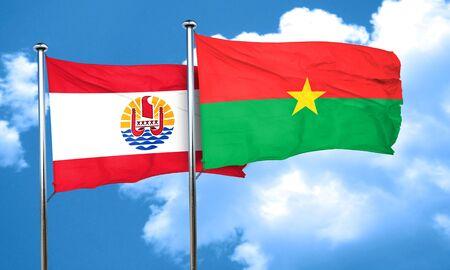 polynesia: french polynesia flag with Burkina Faso flag, 3D rendering