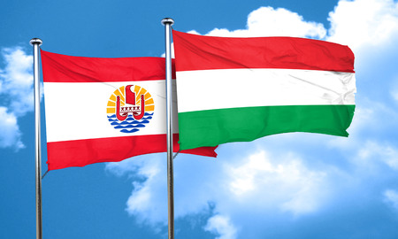 polynesia: french polynesia flag with Hungary flag, 3D rendering