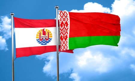 polynesia: french polynesia flag with Belarus flag, 3D rendering