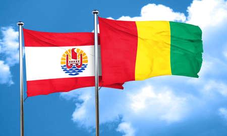 polynesia: french polynesia flag with Guinea flag, 3D rendering