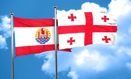 polynesia: french polynesia flag with Georgia flag, 3D rendering