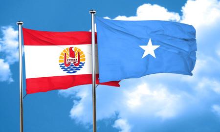 polynesia: french polynesia flag with Somalia flag, 3D rendering