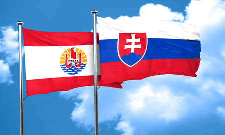 slovakia flag: french polynesia flag with Slovakia flag, 3D rendering Stock Photo