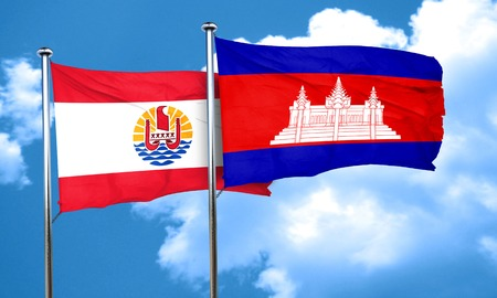 cambodian: french polynesia flag with Cambodia flag, 3D rendering