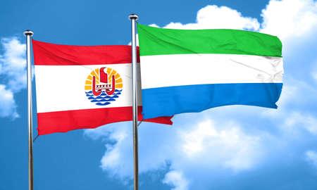 polynesia: french polynesia flag with Sierra Leone flag, 3D rendering
