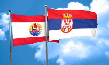 serbia flag: french polynesia flag with Serbia flag, 3D rendering Stock Photo