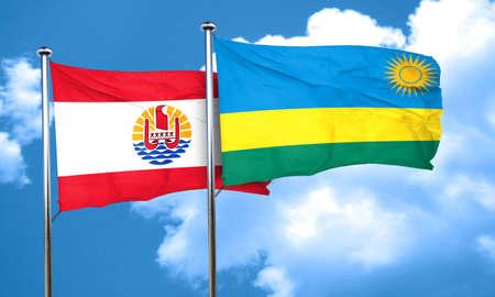 polynesia: french polynesia flag with rwanda flag, 3D rendering Stock Photo