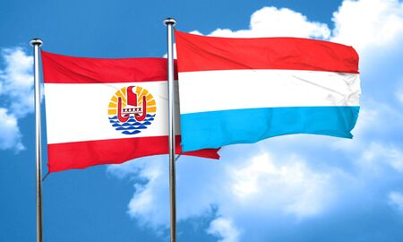 polynesia: french polynesia flag with Luxembourg flag, 3D rendering