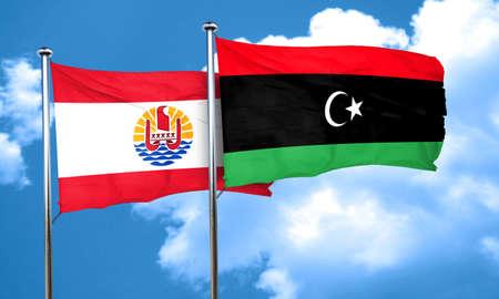 polynesia: french polynesia flag with Libya flag, 3D rendering Stock Photo