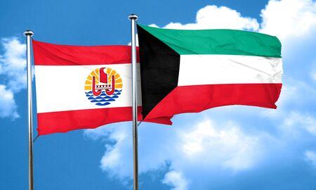 polynesia: french polynesia flag with Kuwait flag, 3D rendering Stock Photo