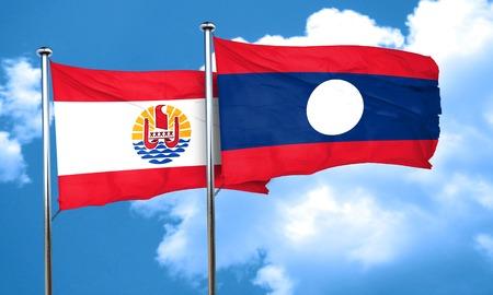 polynesia: french polynesia flag with Laos flag, 3D rendering