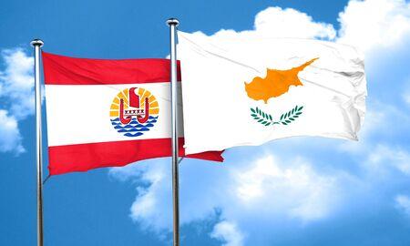 polynesia: french polynesia flag with Cyprus flag, 3D rendering