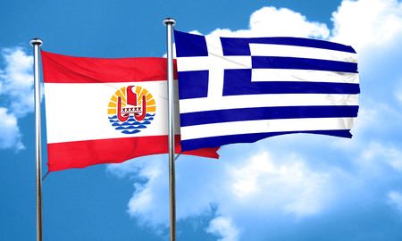 greece flag: french polynesia flag with Greece flag, 3D rendering Stock Photo