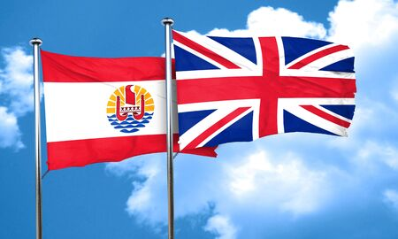 polynesia: french polynesia flag with Great Britain flag, 3D rendering Stock Photo