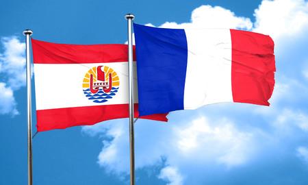 フランス領ポリネシアの旗フランスの旗、3 D レンダリング