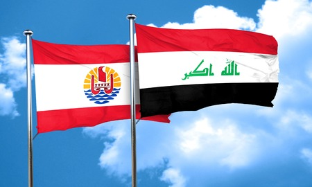 polynesia: french polynesia flag with Iraq flag, 3D rendering