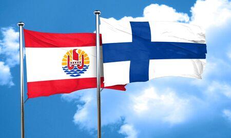 polynesia: french polynesia flag with Finland flag, 3D rendering Stock Photo