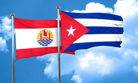 polynesia: french polynesia flag with cuba flag, 3D rendering