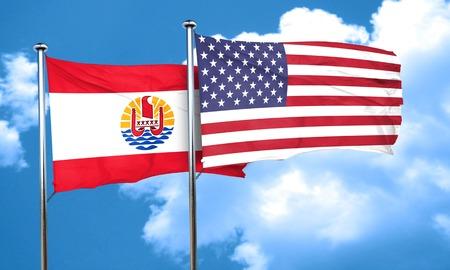 polynesia: french polynesia flag with American flag, 3D rendering Stock Photo