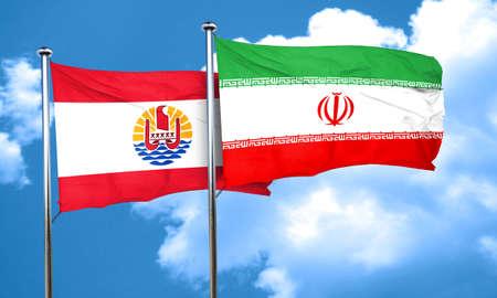 polynesia: french polynesia flag with Iran flag, 3D rendering