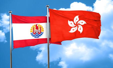 polynesia: french polynesia flag with Hong Kong flag, 3D rendering Stock Photo