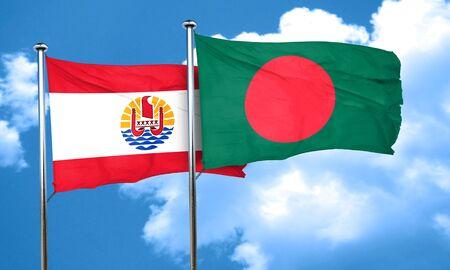 polynesia: french polynesia flag with Bangladesh flag, 3D rendering Stock Photo