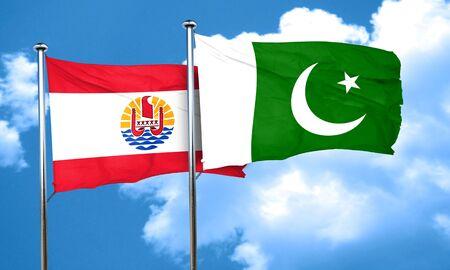pakistan flag: french polynesia flag with Pakistan flag, 3D rendering