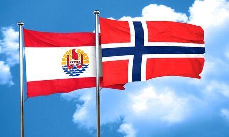 polynesia: french polynesia flag with Norway flag, 3D rendering