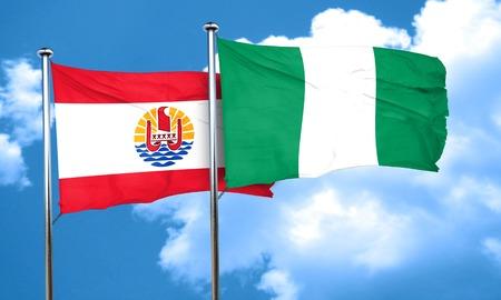 polynesia: french polynesia flag with Nigeria flag, 3D rendering