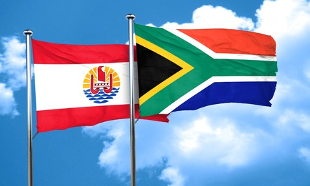 polynesia: french polynesia flag with South Africa flag, 3D rendering