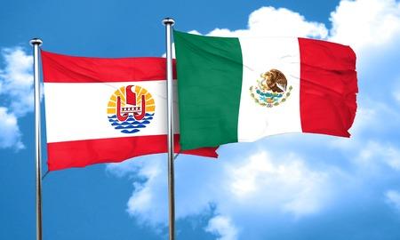 polynesia: french polynesia flag with Mexico flag, 3D rendering Stock Photo