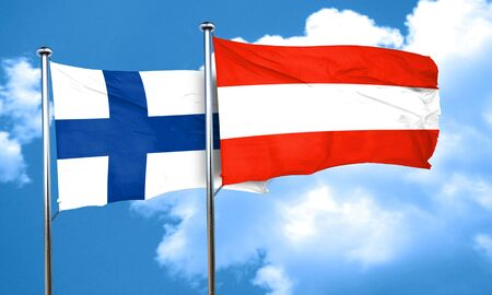 finland flag: finland flag with Austria flag, 3D rendering