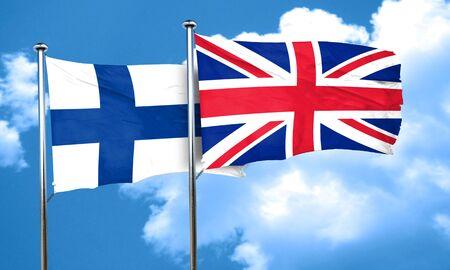 bandera de gran bretaña: Bandera de Finlandia con la bandera de Gran Bretaña, 3D
