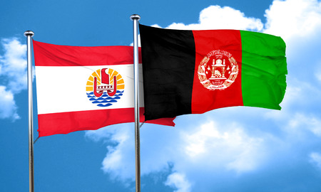 afghanistan flag: french polynesia flag with afghanistan flag, 3D rendering