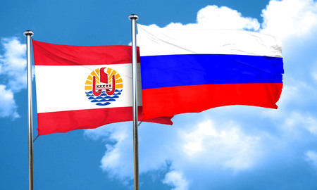 polynesia: french polynesia flag with Russia flag, 3D rendering