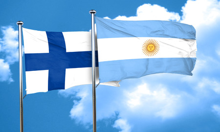 FINLAND flag: finland flag with Argentine flag, 3D rendering