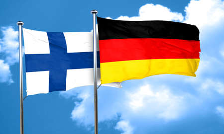 finland: finland flag with Germany flag, 3D rendering Stock Photo