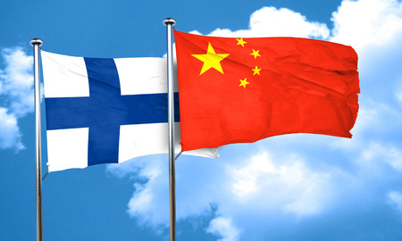 FINLAND flag: finland flag with China flag, 3D rendering Stock Photo