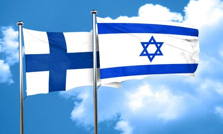 FINLAND flag: finland flag with Israel flag, 3D rendering