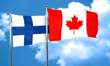 canadian state flag: finland flag with Canada flag, 3D rendering