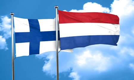 finland flag: finland flag with Netherlands flag, 3D rendering