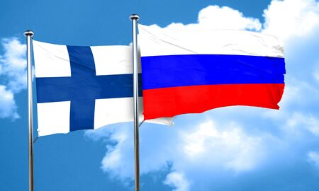 FINLAND flag: finland flag with Russia flag, 3D rendering Stock Photo