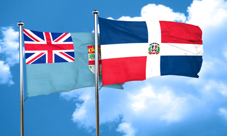 fiji: Fiji flag with Dominican Republic flag, 3D rendering